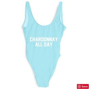 """Chardonnay All Day"" COBALT BLUE One Piece"